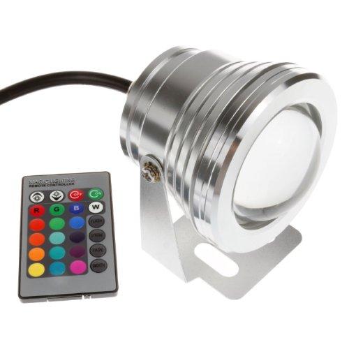 KK-Light Multicolore 10W 12V RGB LED étanche en aluminium étanche IP68 Ampoule Lampe fontaine/bassin avec ouverture Argent