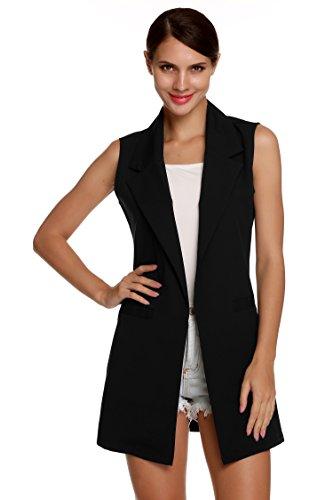 Meaneor Damen Lang Weste Ärmellos Jacke Dünn Mantel mit Taschen Reverskragen- Gr. EU 44(Herstellergröße: XXL), Schwarz -