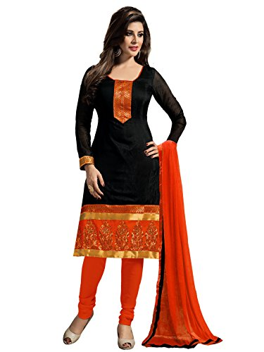 Blissta Black Chanderi Embroidered Straight Suit Dress Material(Diwali special 2017, ,great indian festival sale,festival offer,best deals of the day,traditional for women,sales offers)  available at amazon for Rs.599