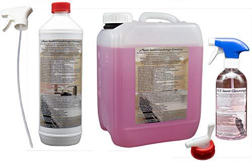 A.K.B. 3 Phasen Sanitärreiniger GRUNDREINIGER VOLLKONZENTRAT Kraftgel, 0845 (5 L SaniGrundreiniger + 2 Reiniger + Gratis-Ausgiesser) ...