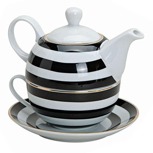 Tea for One Tee Set 3-teilig Porzellan Teekanne Teetasse und Untertasse schwarz weiß Streifen (Tee-set Schwarz Und Weiß)