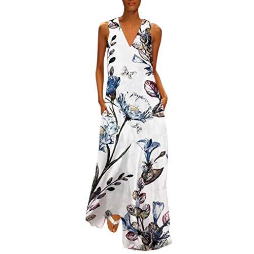 iYmitz Damen Vintage Maxikleid Daily Casual ärmellose Gestreifte Schmetterling Gedruckt Sommerkleid(X1-Weiß,EU-40/CN-2XL) -