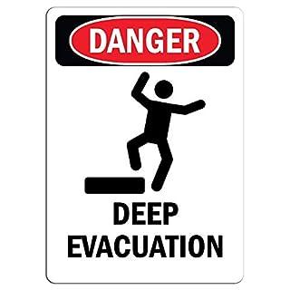 Gefahrenschild - Deep Evakuation Aufkleber Warnaufkleber Schild, Hausdeko, Fenster, Auto, Gefahrenschild, Sicherheitshinweis, verschließbarer Aufkleber, 20,3 x 30,5 cm