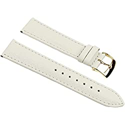 Eulit Fancy Classic Replacement Band Watch Band bovine Leather Strap creamwhite 25454G, width:16mm