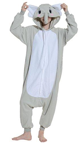 Fandecie Pyjama Tier Onesies mit Kapuze Erwachsene Unisex Cospaly Schlafanzug Halloween Kostüm Grauer Elefant Geeignet für Hohe 160-175CM