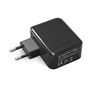 RAVPower Caricatore USB da Muro a 2 Porte, 24W / 4.8A, Alimentatore da Viaggio con Tecnologia iSmart, Compatibile con iPhone / iPad / Samsung / Tablets / Huawei / HTC / LG / Nokia / Nexus / Motorola , ecc. (Nero)