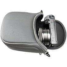 yiyo pantalla cámara bolsa de funda de transporte con correa para Fuji Instax Mini 8707s 2550s 90, Sony ILCE-6000L A6000A63005000L A50005100L a5100lente 16–50mm, color gris