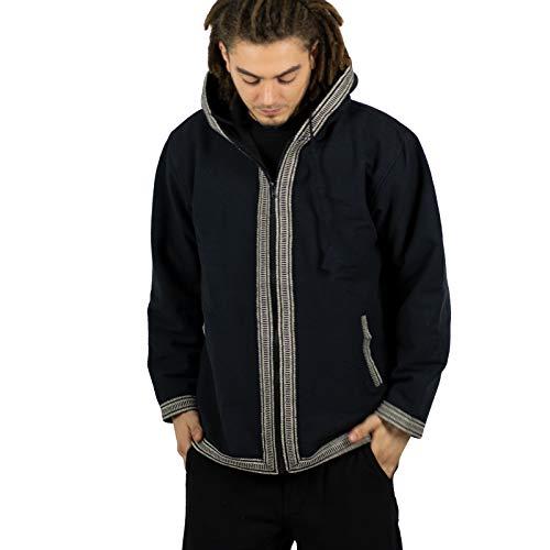 KUNST UND MAGIE Unisex Baumwolljacke mit Fleecefutter und Kapuze, Größe:M, Farbe:Schwarz/Weiß - Snowboard Kunst