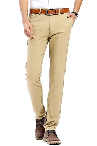 INFLATION Herren Casual Hose Chino Stretch Stoffhose Chinohose Regular Fit HM101 Khaki 37 (Khaki Regelmäßige)