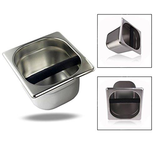 XLKJ Edelstahl Ausklopfbehälter,Kaffee Espresso Abschlagbehälter Abklopfbehälter Werkzeug -