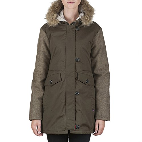 Peregrine Ladies Faux Fur Wool Cotton Showerproof Parka Coat Green Khaki