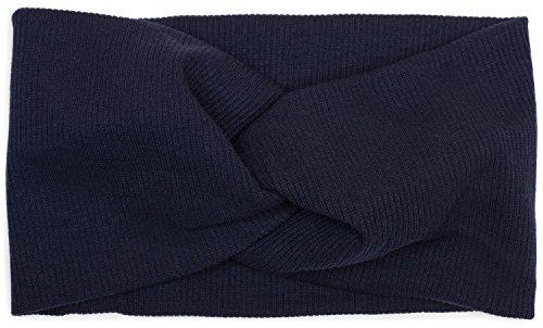 styleBREAKER Damen Haarband in Feinripp Optik mit Schleife, Twist Knoten, Stirnband, Headband 04026009, Farbe:Dunkelblau