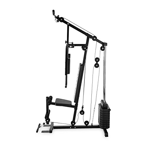 Klarfit-Strongbase--Multi-Home-Gym--Powerstation--Cable-Trainer--Cable-Pull--Cable-Pulling-Machine--Up-to-100-lb-45-kg-in-Increments-of-Ten--3-Cable-Pulls-High-Low-Pull-Butterfly--Black