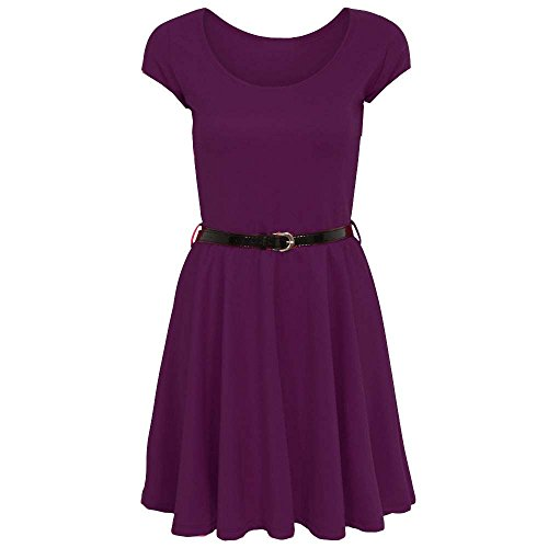 Fashion 4 Less - Robe - Patineuse - Manches Courtes - Femme Aubergine