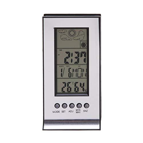 TMY Multifunktionskalender Wecker Barometer Hygrometer Tragbare Funkwetterstation Elektronisches Thermometer (Color : White, Größe : 11cm)