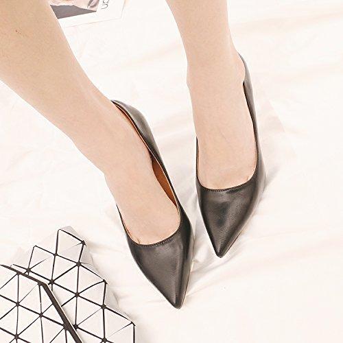 kphy della luce saliva trapano punta 8.5cm High Heels femminile piuma e versatile NERO fine con singoli scarpe Black