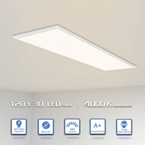 OUBO LED Panel Deckenleuchte 120x30cm Neutralweiß / 48W / 4200lm / 4000K / Silberrahmen Lampe dünn SLIM Ultraslim Deckenleuchte Wandleuchte Einbauleuchten