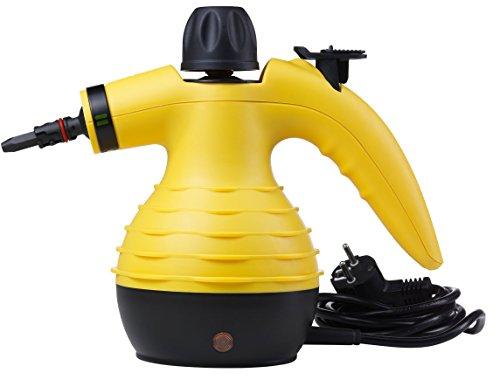 MEDION MD 16472 Dampfreiniger für jeden Haushalt, tragbar, 1050 Watt, 250 ml Wassertank, großes Zubehör-Set, gelb