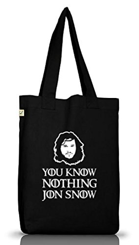 Shirtstreet24, You Know Nothing, Jutebeutel Stoff Tasche Earth Positive (ONE SIZE) Black