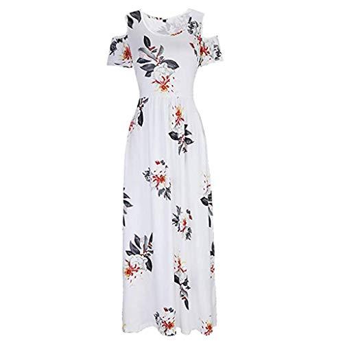 Frauen casual party dress frauen sommer kalte schulter blumendruck elegante maxi lange dress tasche dress -