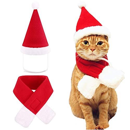 UWOOD Cute Weihnachten Pet Dog Cat Santa Hat Schal Red Kostüm Set Schneeanzug Größe M (Flanell Santa Kostüm)