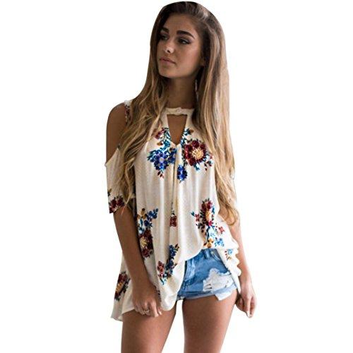 T-Shirt Damen, Bekleidung Longra Damen Blumen V-Ausschnitt Kurzarm Schulterfrei T-Shirt Tops Bluse (M, Spotless)