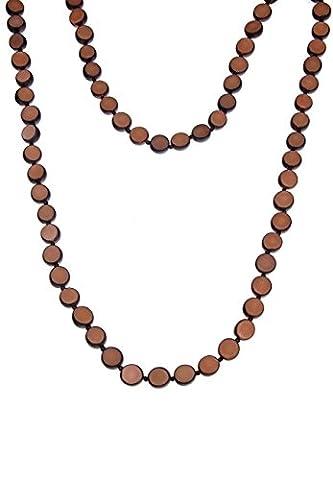 Leslii Halskette Palmsamen Braun   lange Damen-Kette Mode-Schmuck   98cm (Buri Natur)