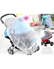 LifeKrafts Stroller Mosquito Net for Baby, Carriers, Car Seats, Cradles. 29 x 21 Inch, White (1 Pack) - 1 Jute Linen Carry Pouch Free.