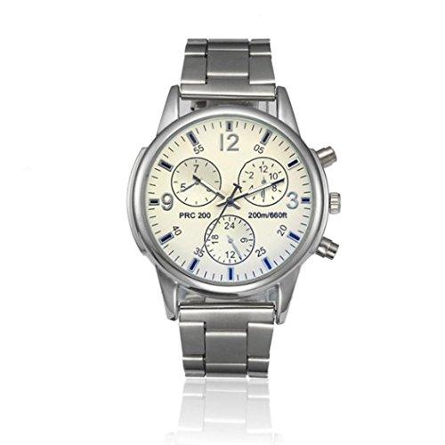 ❤️Montres Homme, Amlaiworld Mode Montre cristal hommes Montre en acier inoxydable Montre-bracelet de quartz analogique Bracelet❤️ (Wrist Watch 1, Blanc)