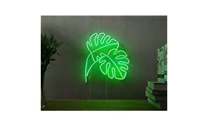 Monstera Leaf Industrial Panama Real Glass Neon Sign For Bedroom Garage Bar Man Cave Room Home Decor Personalised Handmade Artwork Visual Art Dimmable Wall Lighting Includes Dimmer