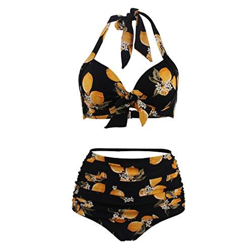 Flower-tankini (XYAN Sexy Bikini für Urlaub Badeanzüge Covers Up für Frauen Gelbe Blumen Badeanzug Neckholder Floral Hohe Taille Zweiteiler (Farbe : Yellow Flower, Größe : S))