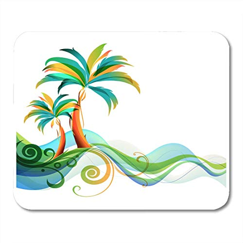 """AOHOT Alfombrillas de ratón Tropical Palms and Waves Hawaiian Abstract Beach Hawaii Silhouette Mouse Pad 9.5\"""" x 7.9\"""" for Notebooks,Desktop Computers Accessories Mini Office Supplies Mouse Mats"""
