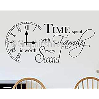 Graphics 'n' Tees - Time Spent with Family Is Worth Every Second Inspirational Wall Sticker Quote, Kitchen Dining Room Home Wall Art Decor Decal - In Black Available (X Large 1220mm x 560mm)