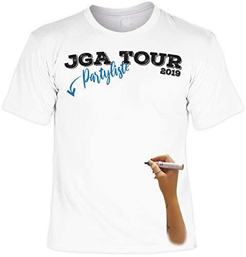 T-Shirt weiß mit Permanent Marker: JGA Tour 2019 Partyliste