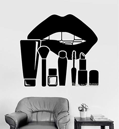Wuyyii Neuheiten Kunst Wandaufkleber Große Lippen Und Make-UpKosmetik Schönheitssalon Aufkleber Frauen Room Decor Wallpapers Poster61X56 Cm