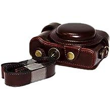 Zenness PU cuero Caja de la cámara, bolso de la cubierta para Sony Cyber-shot DSC-HX60 HX50 HX30 cámaras compactas (café)