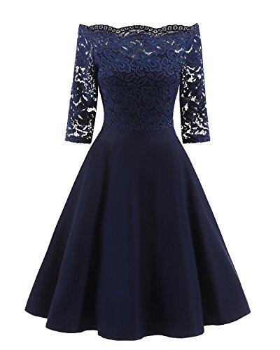 Caissen Damen Kurzes Off-The-Schulter 3/4 Ärmele Spitze Midi Kleid Fit & Flare Party Cocktailkleid Marineblau Größe S (Fit-n-flare Dress)