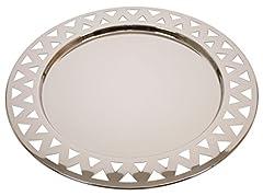 Idea Regalo - Alessi KK23 - Vassoio rotondo con bordo trafitto in acciaio inossidabile, Argento lucido, Diametro 48 cm