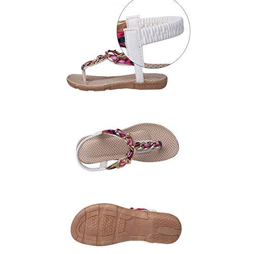 ZOEREA Damen Sandalen Schuhe Knöchelriemen Roman Geflochtene T-Strap Gladiator Sandalen Flats Thong Sandalen Sommer Schuhe Strand Flip Flop Hausschuhe White