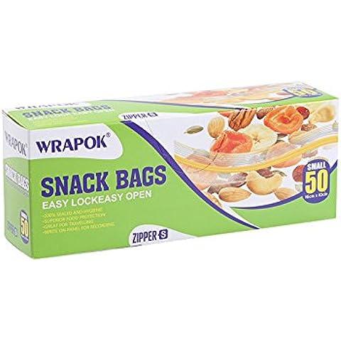 Bolsas para congelar, bolsas de almacenamiento, serie de bolsas de avión con función de cierre con cremallera, formato pequeño, empaquetado de 50 bolsas de 16 x 10 cm, uso de hogar e industria