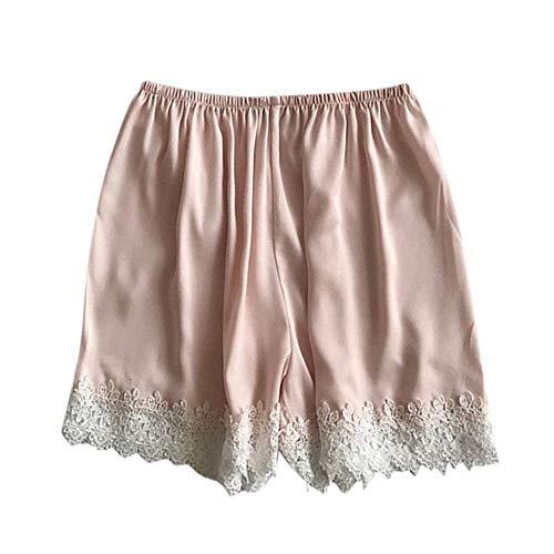 COOOOEENS Pyjamas orange Farbe Hose Womens Schlaf Bottoms Satin elastische Taille weißer Spitze Shorts Kostüm Seide Sommer Nachtwäsche -
