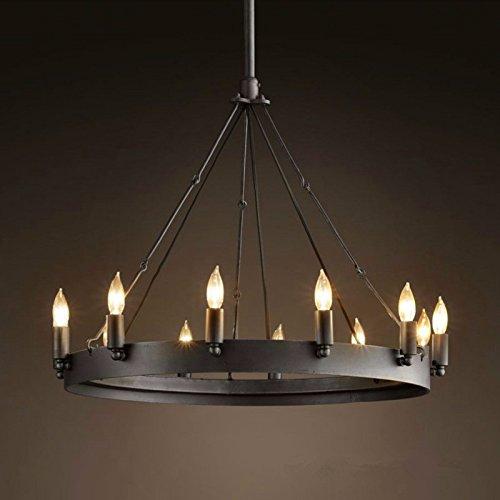SJUN Amerikanisches Dorf Schmiedeeisen Vintage Industrielle Ring Leuchter Kerze Kronleuchter,12 (60Cm)