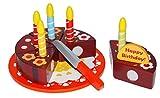 Tanner 09897 - Geburtstagstorte aus Holz zum Schneiden, Vorschul Rollenspielzeug