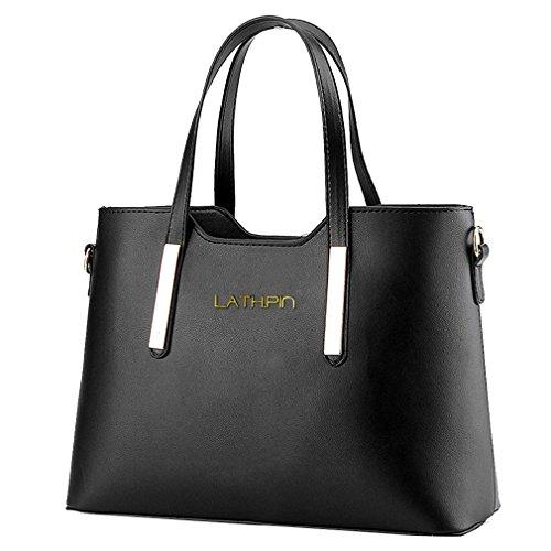 Borse a Mano Donna Borsa a Tracolla in Pelle PU Borsetta Shopper Pu Leather Handbag - LATH.PIN Nero