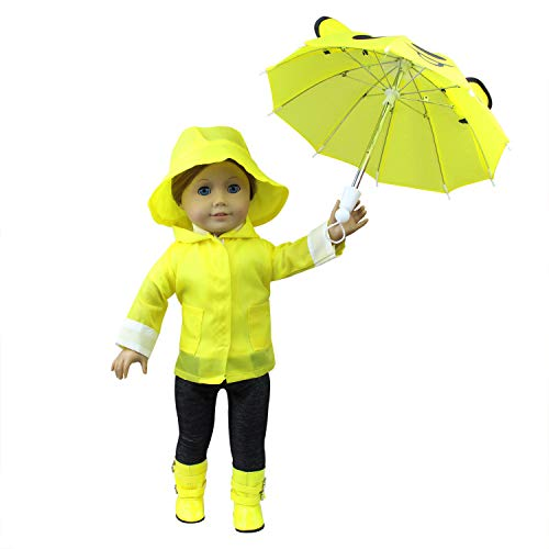 Kostüm Childs Cowboy Deluxe - ZITA ELEMENT 6tlg Set Puppe Kleidung Regenmantel Regenkleidung Outfit Kostüm für 18 Zoll American Girl Doll Puppenkleidung Puppenkleid Bekleidung Gelb