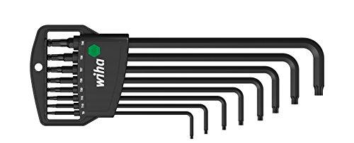 Wiha TORX Kugelkopf, schwenkbar für schwer zugängliche Bereiche,  Stiftschlüsselsatz im Classic Halter / Stiftschlüssel-Set mit Sechskant-Klingen und Kugelkopf, schwenkbar für schwer zugängliche Bereiche,  in praktischer Halterung / Brüniert, 8 teilig (Inbusschlüssel-halter)