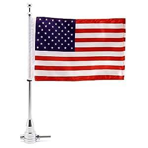 Silver : NEVERLAND Universal Motorcycle Bike American USA Flag pole Luggage Rack Mount