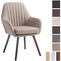 CLP Silla de visita FLORIAN, tapizada en tela, resiste hasta los 160 Kg, estilo retro, con reposabrazos, forma de sillón, acolchada totalmente y con una altura de asiento de 53 cm aprox. topo, Color soporte de madera: nogal