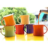 Femora Bone China Classical Multicolor Microwave Safe Tea Cup Coffee Mug For Office & Home, Set Of 6, 150ml- 1 Year Warranty