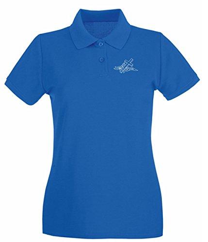 T-Shirtshock - Polo pour femme FUN1097 cross decal 5 92410 Bleu Royal